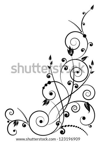 floral pattern in black color based on spirals