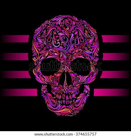 Floral pattern of form color skull. Pink stripes. Emo on black