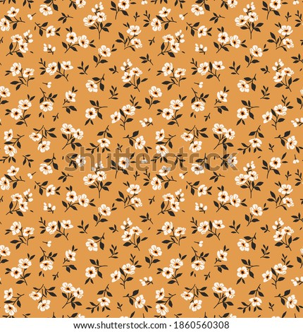 Floral pattern. Pretty flowers on  beige background. Printing with small white flowers. Ditsy print. Seamless vector texture. Spring bouquet. Stock vector. Stock photo ©