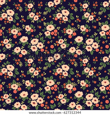 Floral pattern pretty flowers on dark blue background printing floral pattern pretty flowers on dark blue background printing with small scale light mightylinksfo