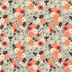 Floral pattern. Pretty flowers on gray blue background. Printing with small red, coral and white flowers. Ditsy print. Seamless vector texture. Spring bouquet.