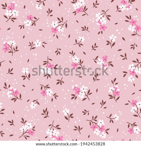 Floral pattern. Pretty flowers on pink background. Printing with small white and bright pink flowers. Ditsy print. Seamless vector texture. Spring bouquet. Stock vector.