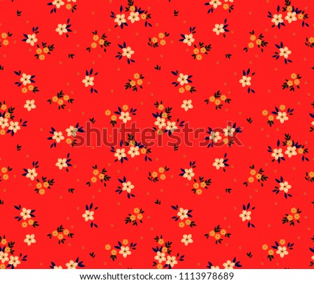 Floral pattern. Pretty flowers on red background. Printing with small white flowers. Ditsy print. Seamless vector texture. Spring bouquet.