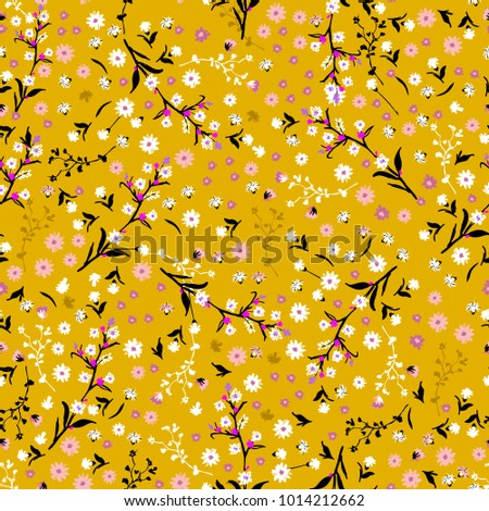 Floral pattern. Pretty flowers on vintage yellow background in liberty style. Printing with small white and pink flowers. Ditsy print. Seamless vector texture. Spring bouquet.