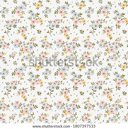 Floral pattern. Pretty flowers on white background. Printing with small flowers. Ditsy print. Seamless vector texture. Spring bouquet.
