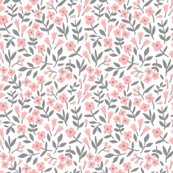 Floral pattern. Pretty flowers on white background. Printing with small pink flowers. Ditsy print. Seamless vector texture. Spring bouquet.