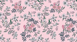 Floral pattern. Pretty flowers onlight pink background. Printing with small white and pink flowers. Ditsy print. Seamless vector texture. Spring bouquet.