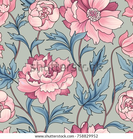 Floral pattern rose ornamental background flourish texture with bouquet. Gentle tiled wallpaper