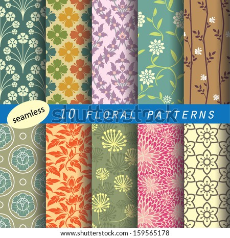 floral pattern's unit collection 1 for making seamless wallpaper retro color style fully editable color and shape partial preview image