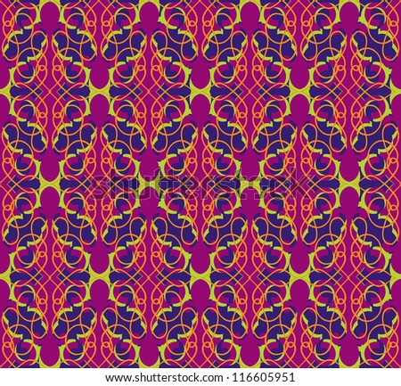 Floral pattern seamless. Flourish vector motif on pink background. Oriental brocade wallpaper.