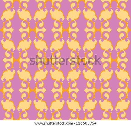 Floral pattern seamless. Flourish vector motif on pink background. Oriental wallpaper.