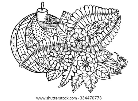 vector doodle flowers and christmas ball in black and white - Christmas In Black And White