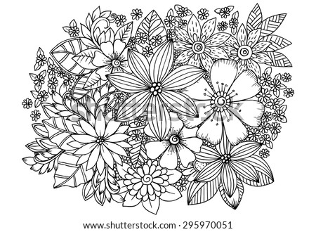 Floral pattern. Vector doodle flowers in black and white