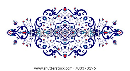 Floral pattern vector element. Turkish spa ornament with flowers motifs. Iznik symbol for royal wedding invitation, indian save the date card, yoga wallpaper, victorian tag or moroccan beauty salon.