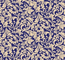 Floral pattern. Wallpaper baroque, damask. Seamless vector background. Blue and gold ornament