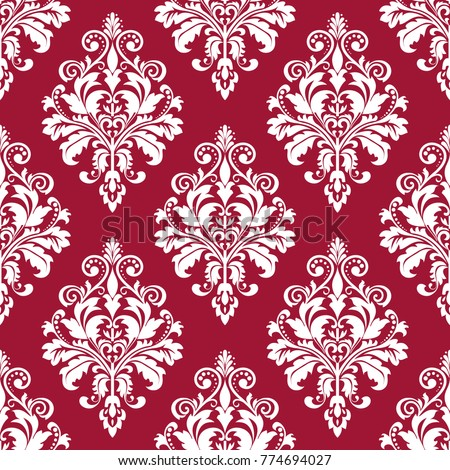 Floral pattern. Wallpaper baroque, damask. Seamless vector background. Red and white ornament. Stylish graphic pattern