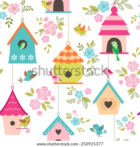 floral pattern with birds and