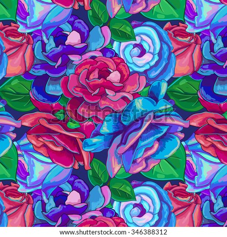 Floral pattern with blue and red vector roses and green leaves