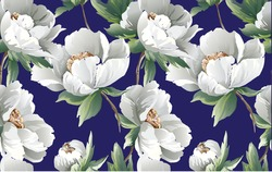 Floral Pattern with colourful  big peony flowers on dark blue background