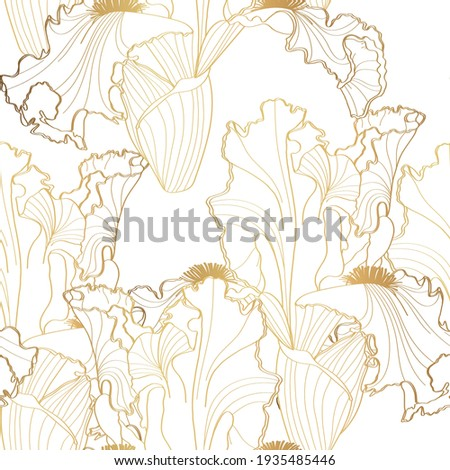 Floral pattern with iris flowers. Seamless  pattern with golden irises flowers on white background. Foto stock ©