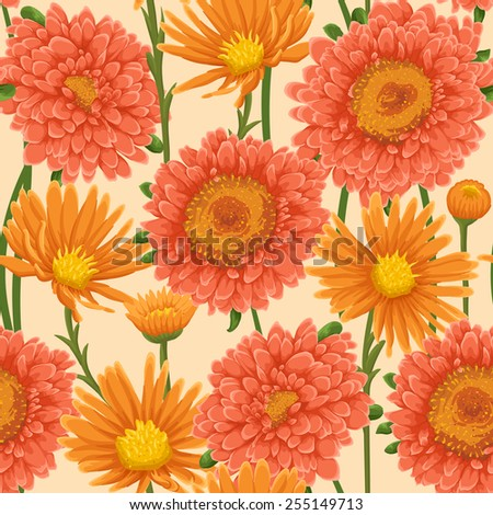 Floral pattern with pink and orange flowers
