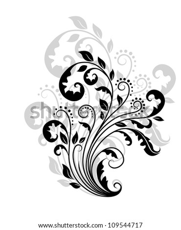 Floral pattern with reflection for ornate and decoration. Jpeg version also available in gallery