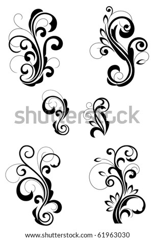 Floral patterns for design isolated on white. Jpeg version also available in gallery