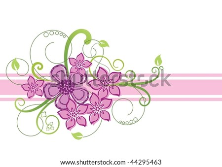 stock vector Floral pink and green border design