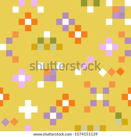 Floral pixel seamless pattern. Pixel art. Babyish vintage ornament for design fashion print, wrapping, wallpaper, paper.