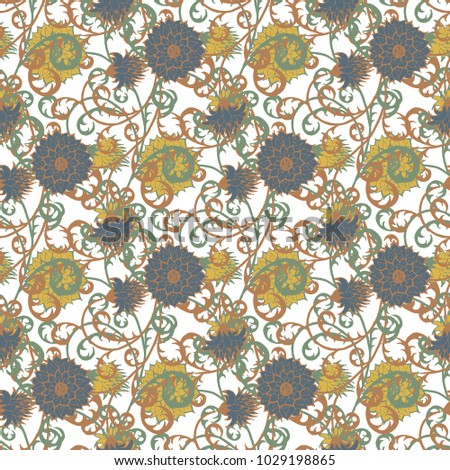 Floral Rapport For Wallpaper Or Fabric Seamless Pattern In Vintage Style With Big Flowers Of