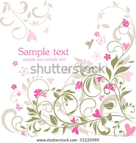Floral retro card - stock vector