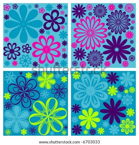 floral retro vector flower design background