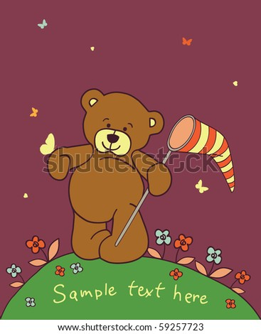 Floral romantic background with teddy bear - stock vector