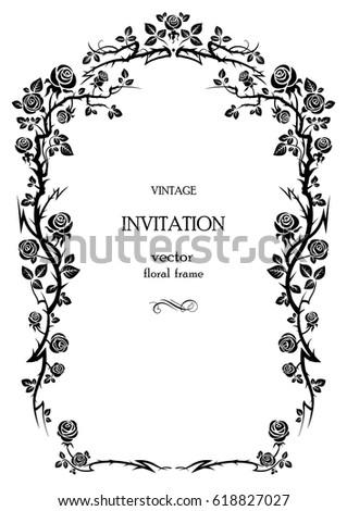 Floral rose frame