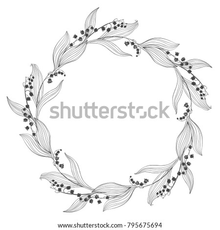 Floral round background with lily of the valley and place for text. Vector illustration on white background. Invitation, greeting card or an element for your design.