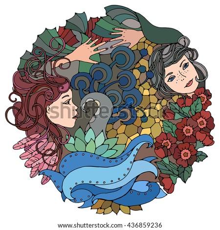 floral round decorative element