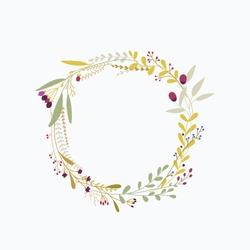 Floral round frame. Flowers sketch style crown.