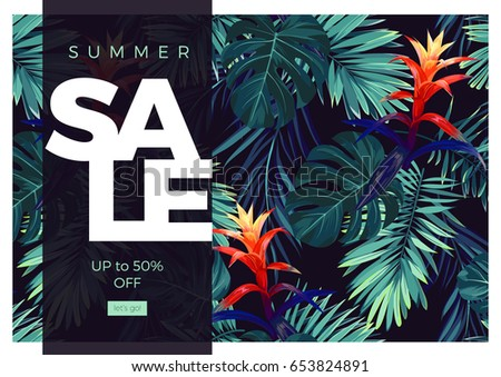 Floral sale design with guzmania flowers, monstera and royal palm leaves. Exotic hawaiian vector background.