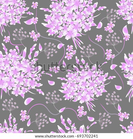 Floral seamless background. Abstract elegance pattern with flowers and leafs. Vector illustration. Beautiful pattern for decoration and design. Trendy summer, spring print.