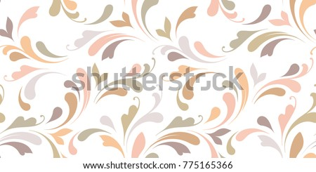 Floral seamless background for textile, wallpapers, wrapping, paper. Flowers and swirls. Art ornament.