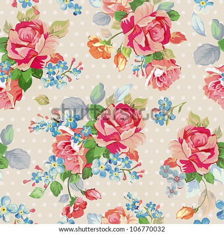 Floral seamless background with roses, fashion Beautiful vector illustration texture. - stock vector