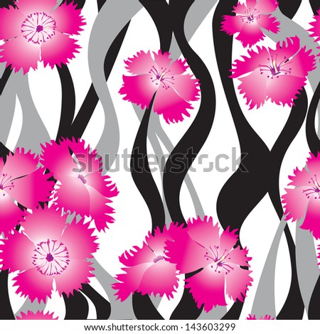 floral seamless background. Yellow flower bouquets wavy pattern. floral seamless texture with Indian cress flowers. flower seamless background.
