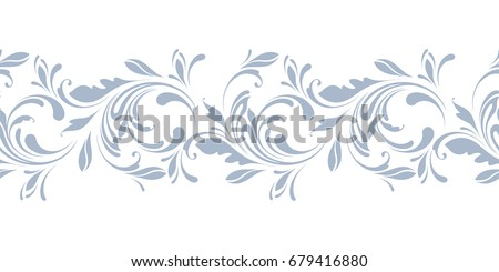 Floral seamless border. Decorative swirls and flowers pattern. Design for frames, tape, ribbon.