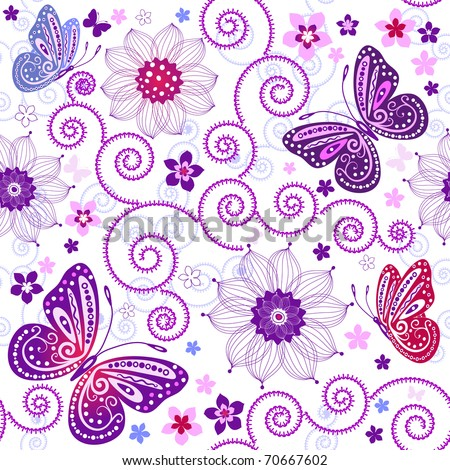 Floral seamless grunge pattern with flowers and butterflies (vector)