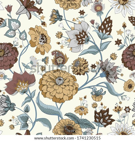 Floral seamless original pattern in vintage paisley style. Traditional floral pattern for fabric, wallpapers and backgrounds. Ornamental garden Flowers and leaves.