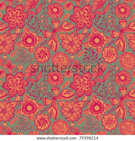 Floral seamless ornament, endless background with flowers. Romantic pattern for fabric, textile.