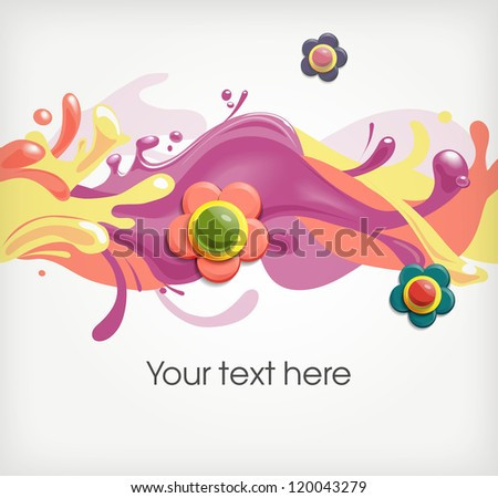 Floral seamless ornament with paint splashes - stock vector