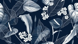 Floral seamless pattern, Anthurium flowers with leaves in blue tone on dark blue
