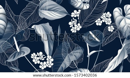 Floral seamless pattern, Anthurium flowers with leaves in blue tone on dark blue Foto stock ©