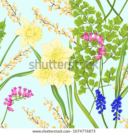 Stock Photo Floral seamless pattern, background with spring flowers on soft blue background. Vector illustration without gradients and transparency.